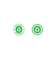 Set recyclable green circle badge with mobius vector