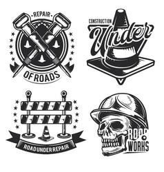 Set road works emblems labels badges vector