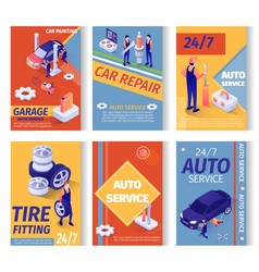 Set social advertisement for car repair service vector