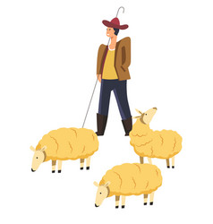 Sheep animals domestic pets and smiling shepherd vector