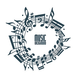 Simple single color music background with notes vector