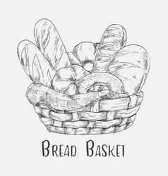 Sketch of pastry and bakery bread in basket vector