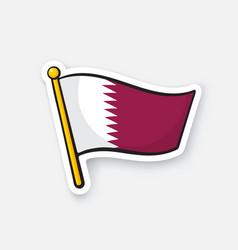 Sticker flag qatar on flagstaff vector