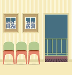Three Chairs In Empty Room vector image