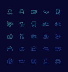 Travel tourism icons line set vector