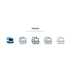 Trireme icon in different style two colored and vector