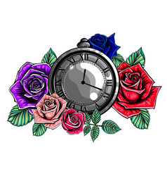vintage pocket watch with a pattern in roses vector image
