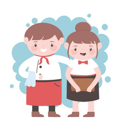 Waiter and waitress with apron and menu cartoon vector