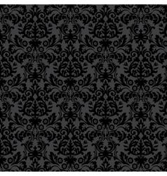 Black damask vintage floral pattern vector image