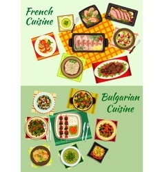 French and bulgarian cuisine dinner dishes icon vector image vector image