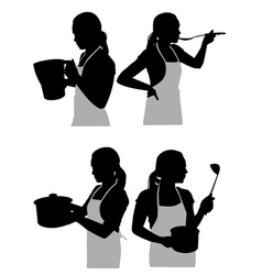 girl in the kitchen2 vector image vector image