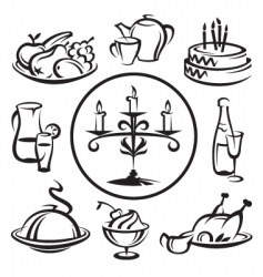 set of dishes vector image vector image