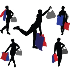 shopping girls 2 - vector image vector image