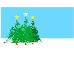 Three Christmas trees B vector image vector image