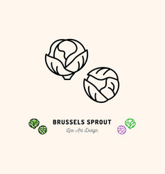 brussel sprouts icon vegetables logo cabbage vector image vector image