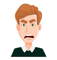 Face expression of a man with blond hair - angry vector