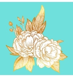 Peony bouquet background birthday card or vector image