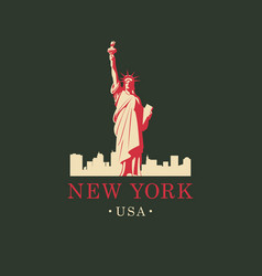 statue of liberty in backdrop of new york skyline vector image vector image