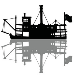 the black silhouette of a vintage steam riverboat vector image vector image