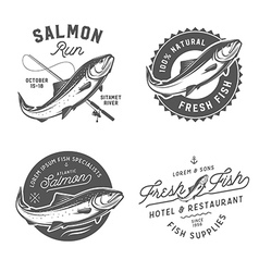 Vintage salmon emblems and logos vector