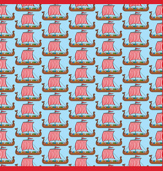 background pattern with viking long ship vector image vector image