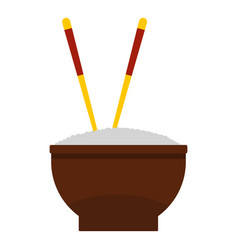 brown bowl of rice with pair of chopsticks icon vector image