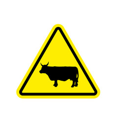 Cow warning sign yellow farm hazard attention vector