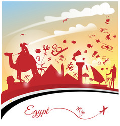egypt background with flag and symbol vector image