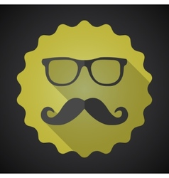 Glasses with Mustuches Flat Icon with long shadow vector image vector image