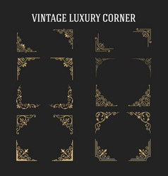 set of vintage luxury corner design vector image vector image