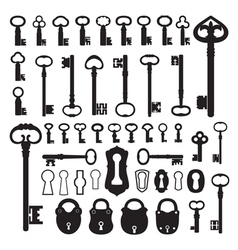 Silhouettes of old keys vector image vector image