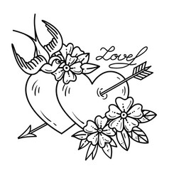tattoo two hearts pierced by arrow with flowers vector image vector image