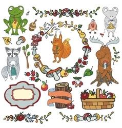 Wild animals decor elementsWoodland autumn vector image vector image