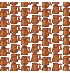 background pattern with wooden beer mug vector image vector image