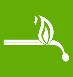 burning match icon green vector image