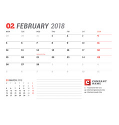 calendar template for february 2017 business vector image vector image