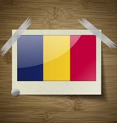 Flags Chad at frame on wooden texture vector image