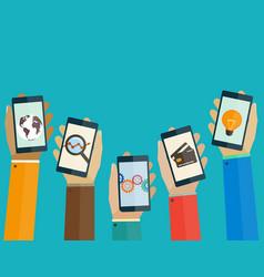 flat design concept mobile apps phones in hands vector image vector image