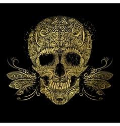 Golden skull Floral gold pattern vector image