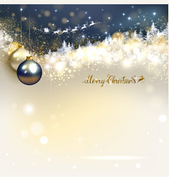 santa claus in a sleigh sweeps over the winter vector image vector image