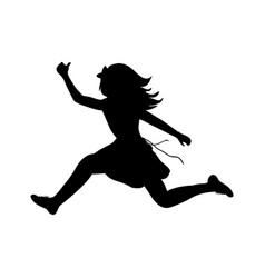silhouette happy girl running sport vector image vector image