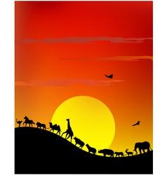 silhouette of wildlife safari vector image