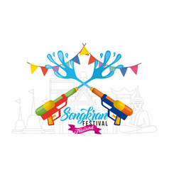 songkran water festival with guns garland poster vector image vector image