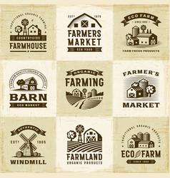 vintage organic farming labels set vector image vector image