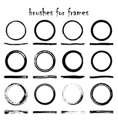 12 texture brushes and frames vector image