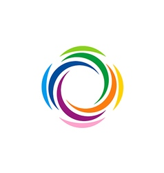 Abstract colorful rotation spin logo vector