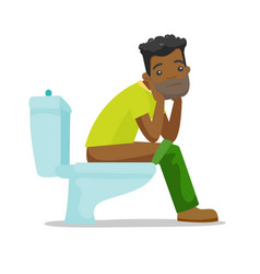 African-american man suffering from constipation vector
