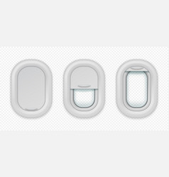 airplane windows realistic aircraft porthole in vector image