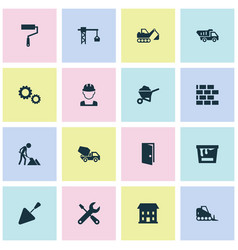Architecture icons set collection of cogwheel vector