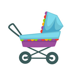 baby transport pram in blue violet colors vector image